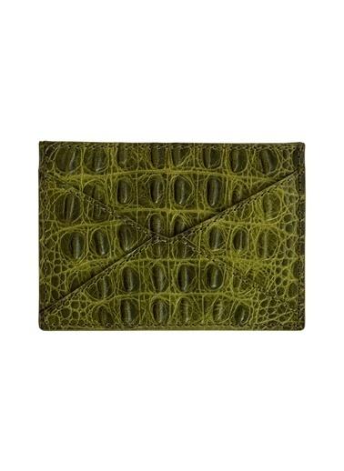 Madame Malachite Deri Zarf Kartlık Baskılı Yeşil